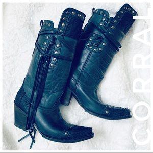 CORRAL black leather cowboy fringe boots w/ studs